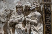 Kaufmannskirche Erfurt, Epitaph Sigismund von der Sachsen, Hauptrelief Detail Figurengruppe, Vorzustand