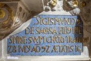Kaufmannskirche Erfurt, Epitaph Sigismund von der Sachsen, Detail Schriftfeld, Endzustand
