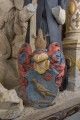 Kaufmannskirche Erfurt, Epitaph für Hans Ziegler - Detail des Wappens nach der Abnahme der Überfassung aus dem 19. Jahrhundert. Die heraldisch korrekte Farbigkeit wurde mittels Punktretuschen wiederhergestellt. (Foto: Candy Welz)